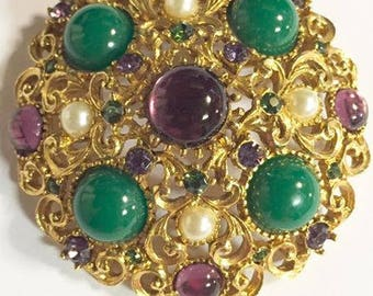 Vintage Weiss Green and Purple Rhinestone Dome Brooch