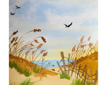 Signed Watercolor Print, Cape May Beach, 8.5x11 inches, Vacation art, travel drawing, dunes, ocean, salt water