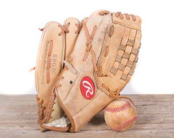 Old Vintage Leather Baseball Glove / Left Handed Rawlings Baseball Glove / Antique Baseball Glove / Old Glove Antique Mitt / Baseball Decor
