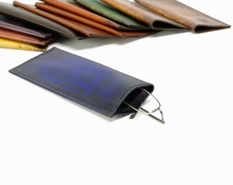 Blue Starburst Leather Slip-in Glasses Case (Regular) - CLEARANCE -