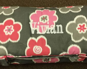 Floral Pink and gray nap mat for girls!
