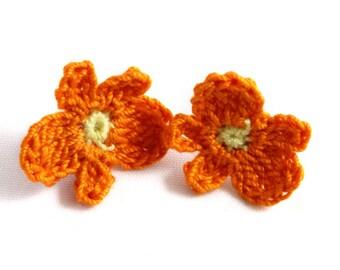 Earrings - Vegan Earrings - Vegan Jewelry - Earrings Studs - Crochet Earrings - Flower Earrings - Stainless Steel Earrings - Orange Earrings