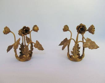 Salvaged Metal Lamp Parts | Roses | Crown for Statue | Floral Garland | Patina | French | Antique