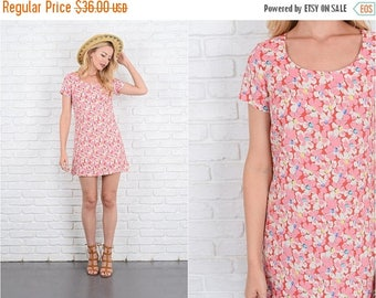 Sale Vintage 90s Pink + Red Mini Dress Floral Bold Print XS 10060