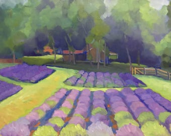 Plein Air Landscape Oil Painting on Canvas  Peace Valley and Lavender