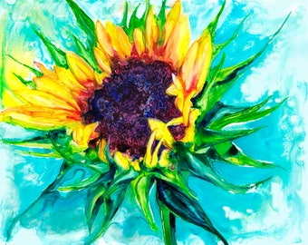Sunflower Watercolor Fine Art Print on Paper, Metal, or Bamboo