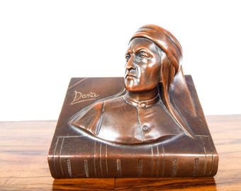 Vintage Bronze Bookend of Dante by Jennings Brothers C. 1900-1930 Book End