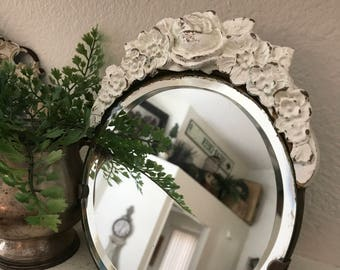 Vintage Barbola Vanity Mirror - Romantic Home - Cottage Chic - Carved Roses