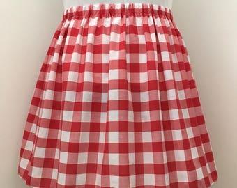 Red Gingham Knee Length Skirt