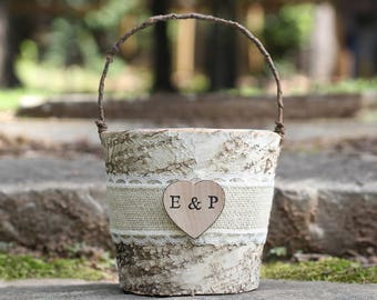 Birch Bark Rustic Flower Girl Basket Burlap Lace and Personalized Heart