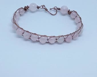 Rose quartz and copper wire wrapped bracelet