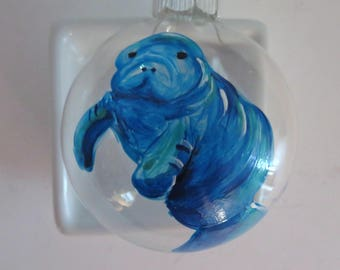 Glass Ornament: Manatee