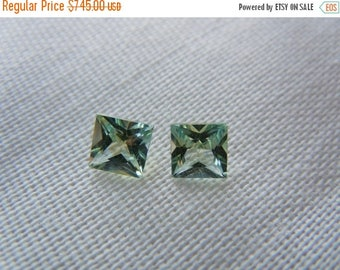 SUMMER FLASH SALE Matched Pair Genuine Montana Sapphires 1.07ctw Princess Cut Loose Gemstones
