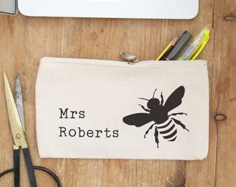 Teacher pencil case - bee print - the perfect gift idea for teacher at the end of term, graduation or Christmas - teacher gift - ta gifts