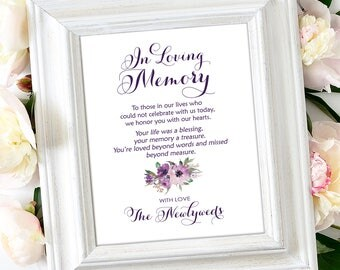 In Loving Memory Sign   8 x 10   DIY Printable   Vintage   Eggplant   Purple Blooms   PDF and JPG Files   Instant Download