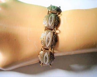 Traditional BRACELET DAMASCENE Spain design DETAiLED Scroll enamel Link Vintage gold tone jewelry Spanish