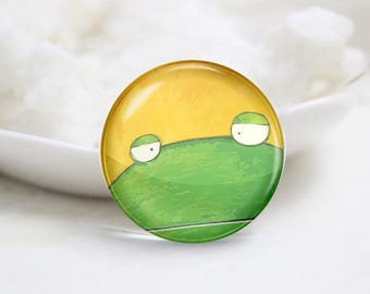 Frog Photo Glass Cabochons (P3822)