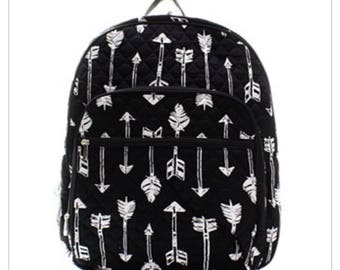 Monogrammed Arrow Quilted Bookbag - Back to School Backpack -Overnight bag - Bookbag - Back to school - Other colors available