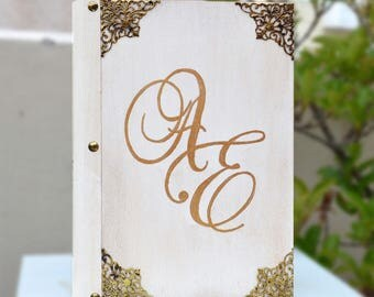 Monogram book, couple's initials, wedding guestbook, initials on wood, initials book, wood decor, blank guestbook, antique notebook