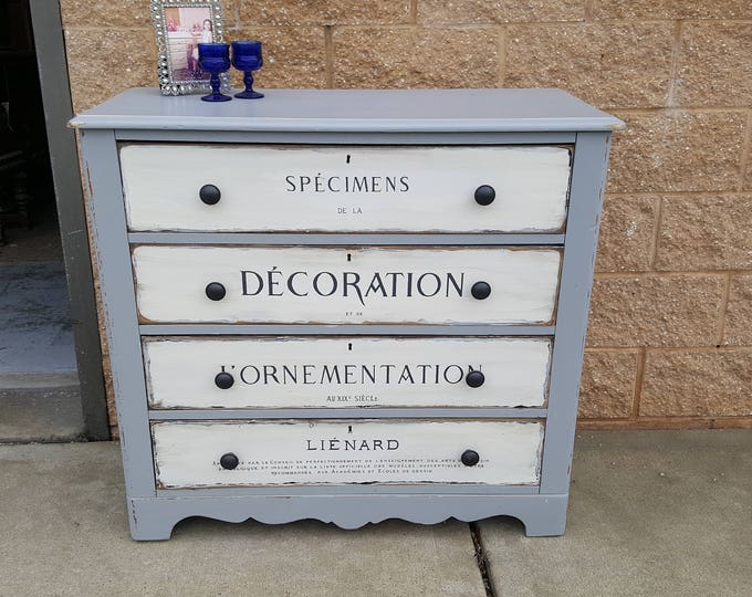 Vintage Dresser Shabby chic chest, PICK UP ONLY french writing image, antique rustic farmhouse bureau, distressed chest of drawers, painted