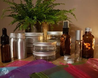 12-pc Bottles & Jars starter pack for aromatherapy, cosmetics, home-made gifts