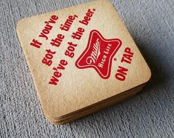 SALE 20% OFF Set of 40 Vintage Miller High Life Beer Paper/Cardboard Coasters...Barware Paper/Ephemera