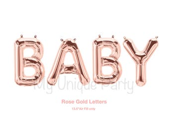 "BABY Rose Gold Balloons 13.5"" Air Fill only Rose Gold Balloons Baby Banner Balloons / Gender Reveal Baby Shower"
