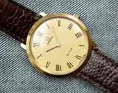 Vintage Omega Deville Mechanical wind up watch mid sized gold plated case leather strap
