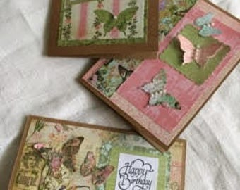 Butterfly Cards for Medical Research, Vintage papers Pearl Accents