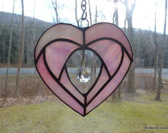 Pink Heart in Stained Glass