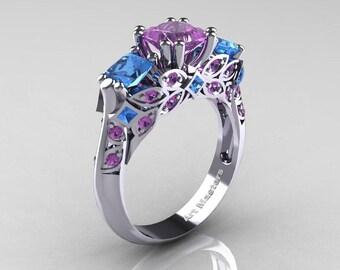 Classic 14K White Gold Three Stone Princess Lilac Amethyst Blue Topaz Solitaire Ring R500-14KWGBTLAM