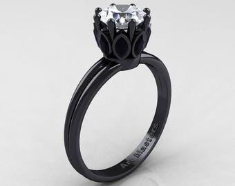 Classic 14K Black Gold Marquise Black Diamond 1.0 Ct Round White Diamond Solitaire Ring R90-14KBGBDD