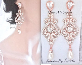Rose gold pearl earrings, Rose gold crystal earrings, Rose gold chandelier earrings, Rose gold wedding earrings, for a bride~ MIA