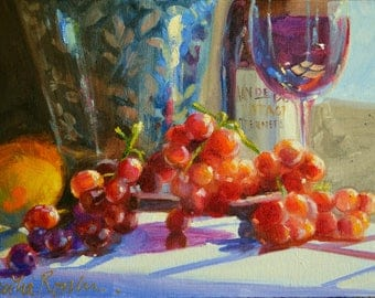 AAN DE DOORNS, original oil  painting, still life of wine and Delft, blue and red, grapes painting