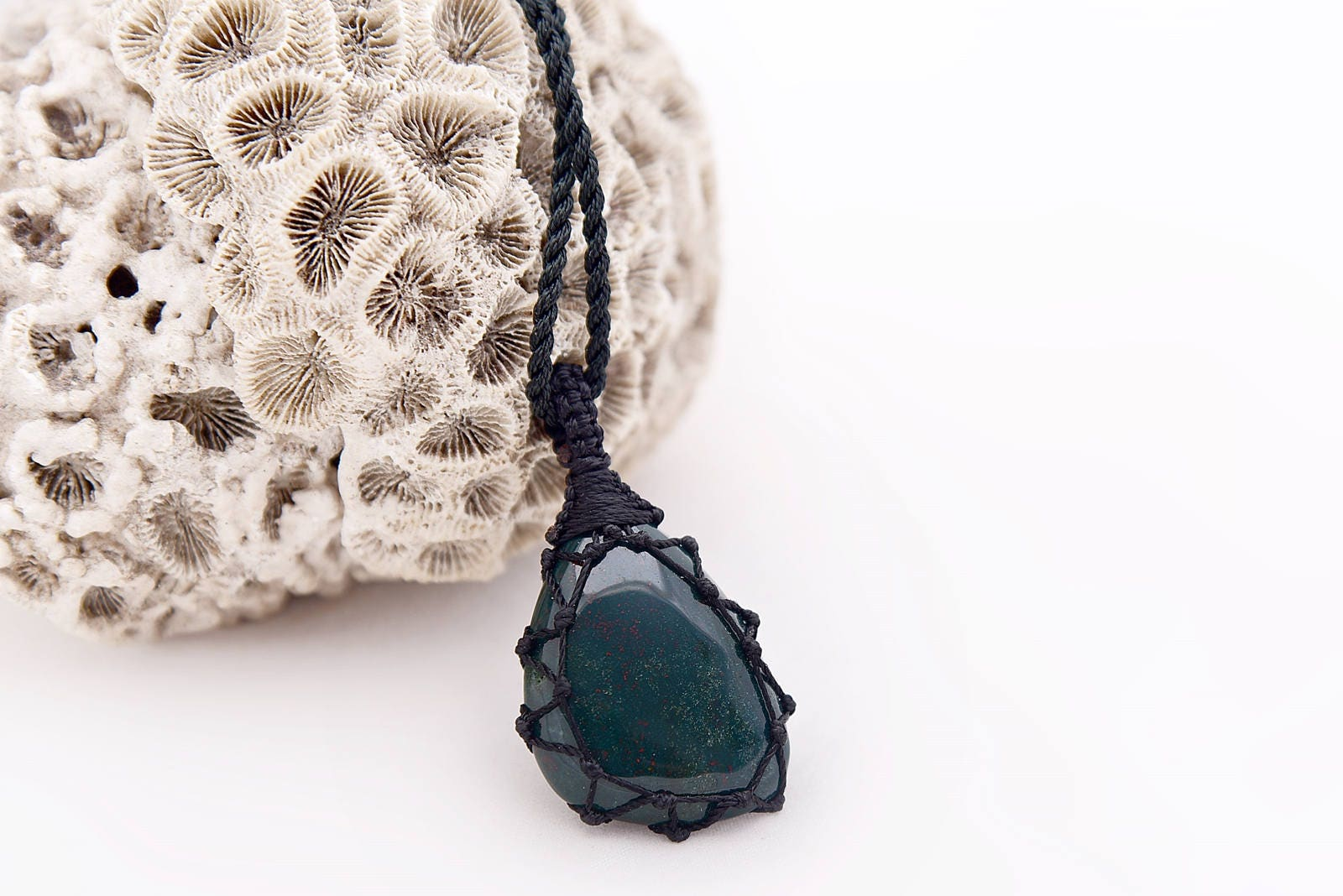 Bloodstone jewelry, Pendant for man, Blood stone necklace, Viking jewelry, Green necklace