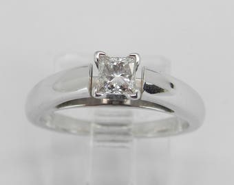 14K White Gold E SI2 Princess Cut Diamond Solitaire Engagement Ring Size 5