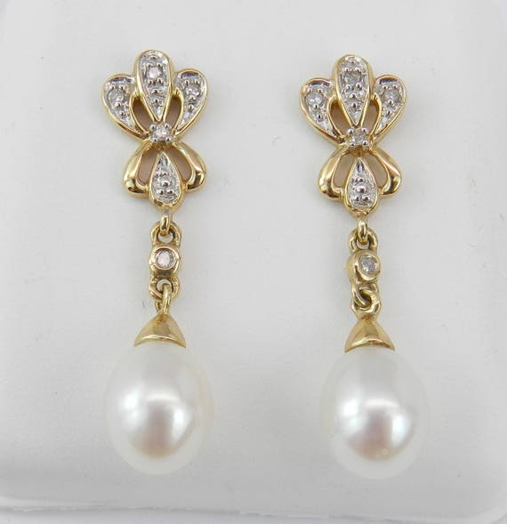 Pearl and Diamond Dangle Drop Earrings Yellow Gold June Birthday Wedding