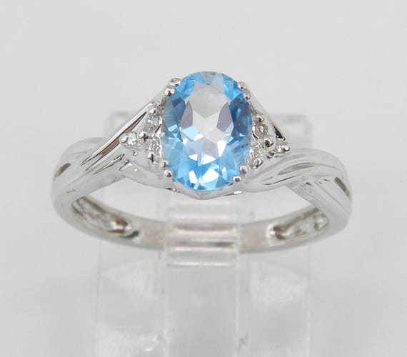 Diamond and Blue Topaz Engagement Promise Ring Size 4.75 White Gold