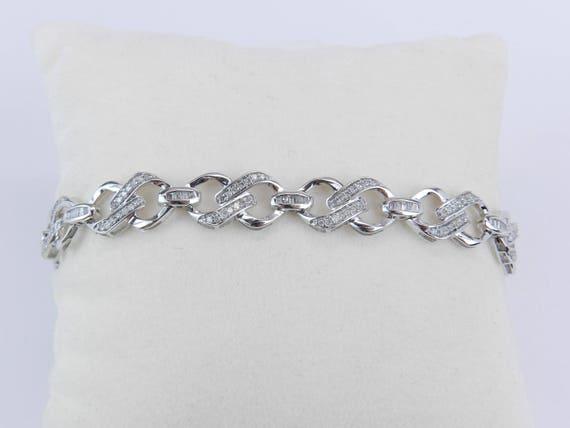 White Gold Diamond Tennis Bracelet Wide Fashion Statement Bracelet Unique Design