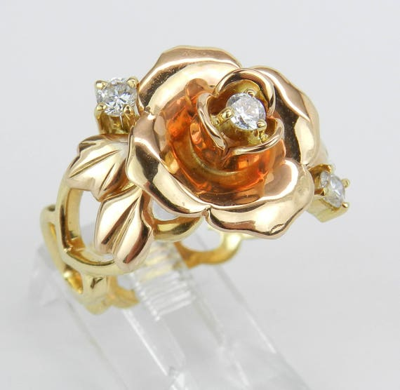 18K Rose and Yellow Gold Unique Rare Diamond Flower Ring Size 8.25