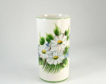 Retro White Vase with Hand Painted Blue and White Flowers, Hand Painted in Brazil