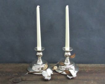 Pair of Silver Plate Candlesticks, Silver Plated Candle Holders, Farmhouse Decor