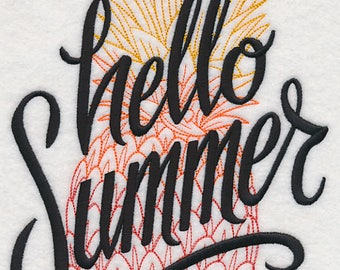 Hello Summer Pineapple Embroidered on Plain Weave Cotton Tea Towel // Iron-on Patch // Kona Cotton Fabric Square
