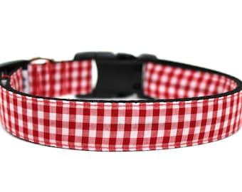 "Gingham Dog Collar 3/4"" or 1"" Summer Dog Collar Picnic Dog Collar"