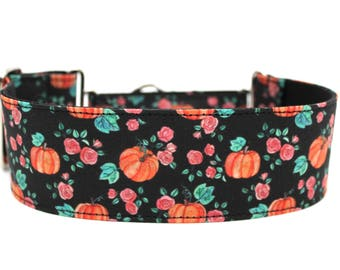 "Pumpkin Dog Collar 2"" wide Martingale Dog Collar for Large Breed Dogs Fall Dog Collar"