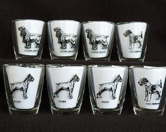 Vintage Shot Glasses - Set of Eight barware - Bar Room Glasses - Dog Novelty Shot Glasses - Mid-Century Glasses - Bar Glassware - Home Decor