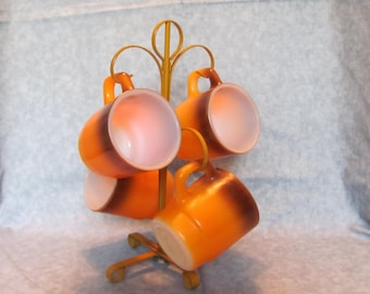 Fire King Mugs with Mug Tree / Retro Fire King Mug Tree 1970's