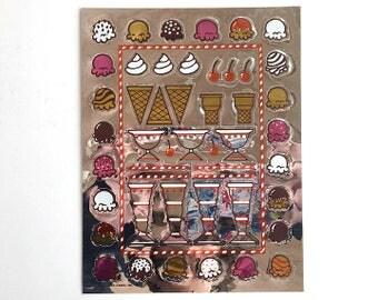 Vintage 80's HALLMARK Stickers Sheet ~ Metallic Foil ICE CREAM Sundae Cone Cherries Make-Your-Own