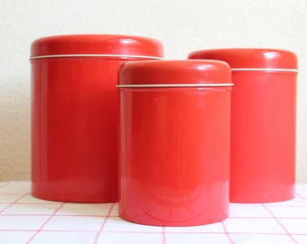 Vintage Tin Kitchen Canisters, Set of 3, Solid Red, 1970s/1980s