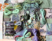 Creativity pack of papers fabrics beads and yarns for mixed media collage and stitch - BLUE theme